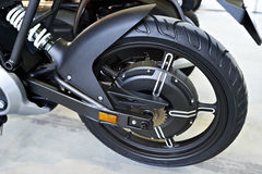 Rear wheel electric motorcycle with engine inside Royalty Free Stock Photos