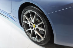 Rear wheel of the Ferrari California. Italy famous brand,Ferrari California open-air sports car, in its exhibition hall,in 2010 international Auto-show GuangZhou Royalty Free Stock Image