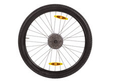 Rear wheel with gear train for mountain bike. Royalty Free Stock Photos