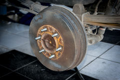 Rear wheel hub and brake. Stock Photos