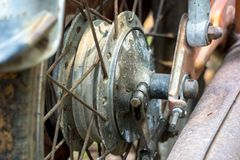 Rear wheel hub of vintage Japanese motorcycle. Close up of the rear wheel hub of vintage Japanese motorcycle royalty free stock images