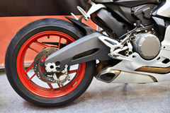 Rear wheel of modern sports road motorcycle Stock Photo