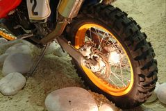 Rear wheel of motorcycle Stock Images
