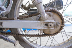 Rear wheel of motorcycle with chain-ring Stock Photos