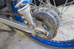 Rear wheel of motorcycle with chain-ring Stock Photo
