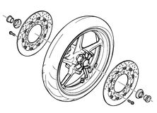 The rear wheel of a motorcycle in parsing. Rear wheel sports bike in the analysis Royalty Free Stock Image