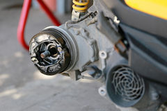 Rear wheel of a motorcycle in repair of the damage. Royalty Free Stock Photography