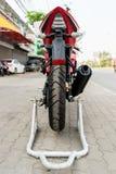 Rear wheel of motorcycle Stock Photos