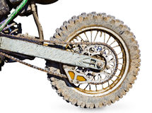 Rear wheel motorcycle for trial covered with mud Stock Images