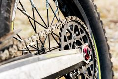 Rear wheel motorcycle trial and enduro. Mounted on the wheel gear and chain with spokes Royalty Free Stock Photography