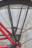 Rear wheel of red bicycle parked on the side wall Stock Photo