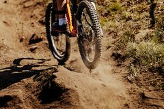 Rear wheel sport bike. Rides on earth dust Royalty Free Stock Photos