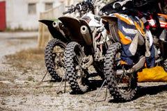 Rear wheel three sports racing bikes Stock Photos