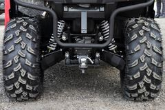 Rear wheels and a coupling of the ATV. Royalty Free Stock Photo