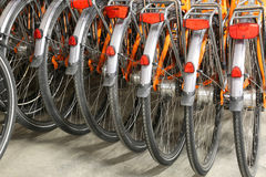 Rear wheels and mudguard of orange bicycle. Many of the rear wheels and mudguard of many orange bicycle in a parking Stock Photos