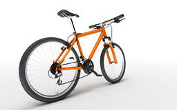 Rear wide angle view of orange sport bike looks to the right iso. Lated on white background Stock Photo