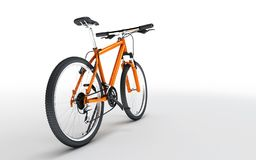 Rear wide angle view of orange sport bike looks to the right iso. Lated on white background Royalty Free Stock Photo