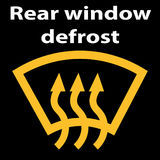 Rear window car defrost button symbol - yellow version.Icon  illustration. Vector illustration representing icon of car dashboard   rear window defrost Royalty Free Stock Images