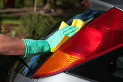 Rear window washing Royalty Free Stock Photo