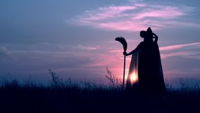 Rear a witch with besom standing on the hill evening skyline halloween. Back view view sorceress in fluttering cloak and hat holding broom posing on field on the stock video footage