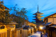 Rear Yasaka No To Pagoda Neighborhood Blue Hour Royalty Free Stock Image