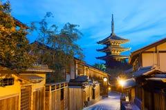Rear Yasaka No To Pagoda Neighborhood Blue Hour Royalty Free Stock Image