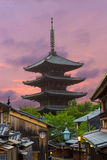 Rear Yasaka No To Pagoda Sunset Kyoto Royalty Free Stock Photo