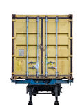 Rear yellow container box trailer parked. Isolated Royalty Free Stock Photography