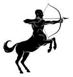 Rearing Centaur Archer. Centaur concept of mythical centaur archer half horse half man character aiming a bow and arrow Stock Photo