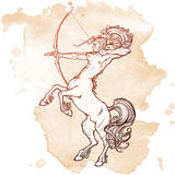 Rearing Centaur holding bow and arrow. Vintage style sketch. Royalty Free Stock Photos