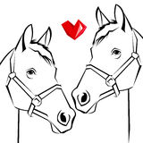 Rearing horse fine vector silhouette, vector horse animal illust Royalty Free Stock Images