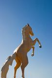 Rearing horse statue. The statue os a horse rearing against a deep blue sky stock image