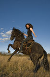 Rearing stallion and girl Stock Image