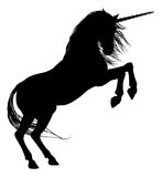 Rearing Unicorn Silhouette Royalty Free Stock Photos