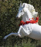 Rearing White Horse. Rearing beautiful white horse garden figure close up Royalty Free Stock Photo