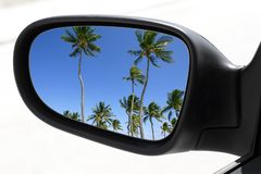 Rearview car driving mirror tropical palm trees Royalty Free Stock Photos