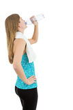 Rearview of fitness woman drinking water. Young and healthy fitness woman drinking water. Rearview. Isolated on white background Royalty Free Stock Photos