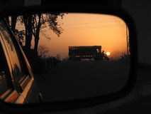 Rearview mirror highway sunset india Royalty Free Stock Photography
