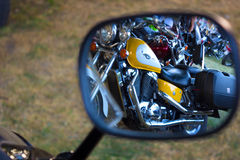 Rearview mirror. Reflection of motors in the rear-view mirror, photography Royalty Free Stock Image