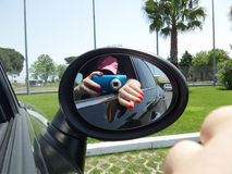 Rearview Mirror Selfie Royalty Free Stock Photography