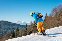 Skier skiing in the mountains Stock Photography