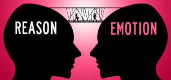 Reason emotion. Bridging the gap between reason and emotion vector illustration