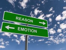 Reason or emotion. Two green highway style signs pointing in opposite directions one with Text 'reason' and the other 'emotion' both inscribed in uppercase white royalty free stock photo