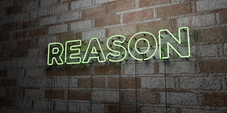 REASON - Glowing Neon Sign on stonework wall - 3D rendered royalty free stock illustration Stock Images