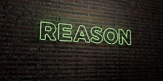 REASON -Realistic Neon Sign on Brick Wall background - 3D rendered royalty free stock image Stock Images