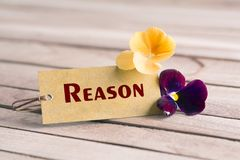 Reason tag. Tag banner reason and violet flower on wooden desk royalty free stock photo