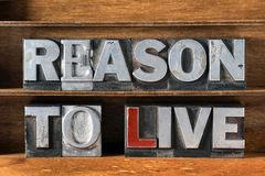 Reason to live. Phrase made from metallic letterpress type on wooden tray royalty free stock photography