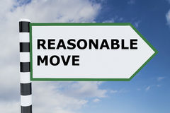 Reasonable Move concept. 3D illustration of REASONABLE MOVE script on road sign Stock Images