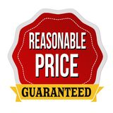 Reasonable price guaranteed label or sticker. On white background, vector illustration Royalty Free Stock Photos