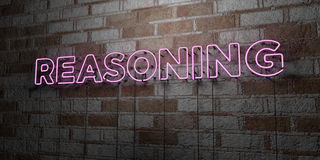 REASONING - Glowing Neon Sign on stonework wall - 3D rendered royalty free stock illustration Royalty Free Stock Photography
